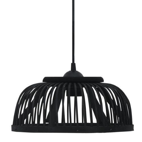 Pendant Lamp Black Bamboo 37x15.5 cm 40 W Semicircle E27