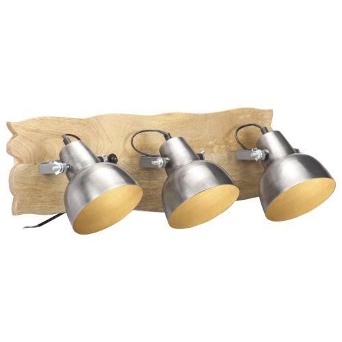 Industrial Wall Lamp Silver 68x23 cm E27 Mango Wood