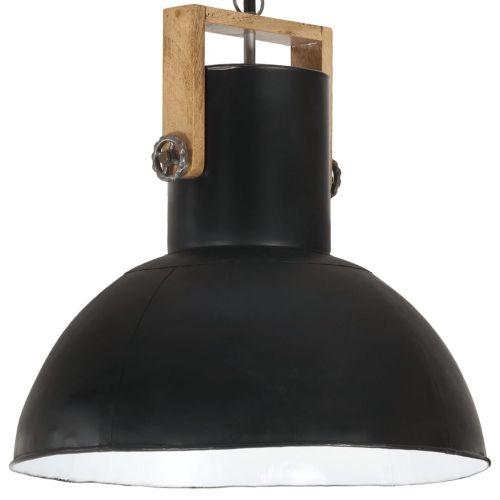 Industrial Hanging Lamp 25 W Black Round Mango Wood 52 cm E27