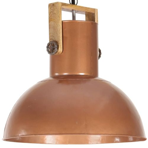 Industrial Hanging Lamp 25 W Copper Round Mango Wood 52 cm E27