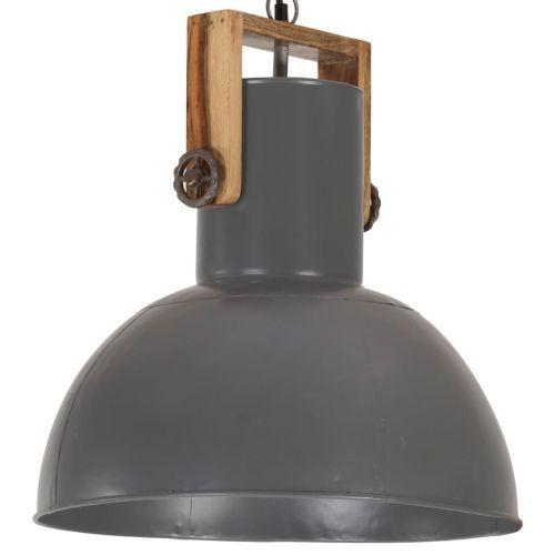 Industrial Hanging Lamp 25 W Grey Round Mango Wood 42 cm E27