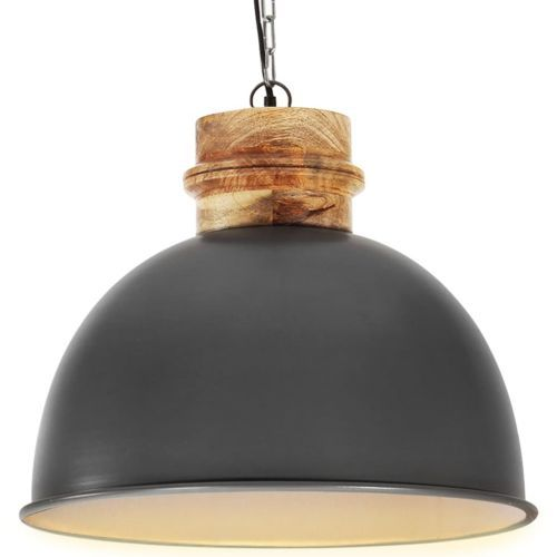 Industrial Hanging Lamp Grey Round 50 cm E27 Solid Mango Wood