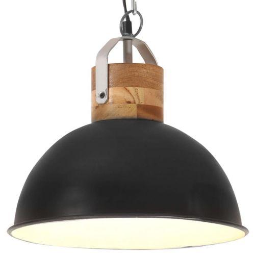 Industrial Hanging Lamp Black Round 32 cm E27 Solid Mango Wood