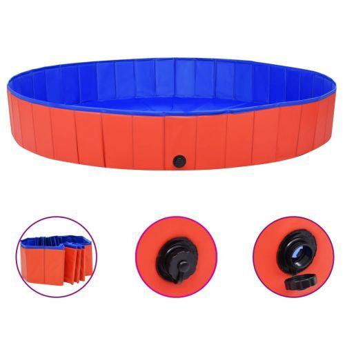 Foldable Dog Swimming Pool Red 200x30 cm PVC