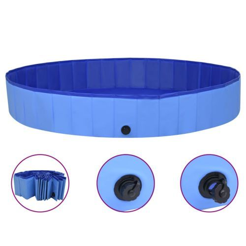 Foldable Dog Swimming Pool Blue 200x30 cm PVC