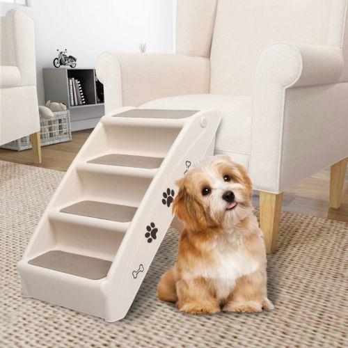 Folding Dog Stairs Cream 62x40x49.5 cm