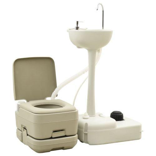 Portable Camping Toilet 10+10L and Handwash Stand 20L Set Grey