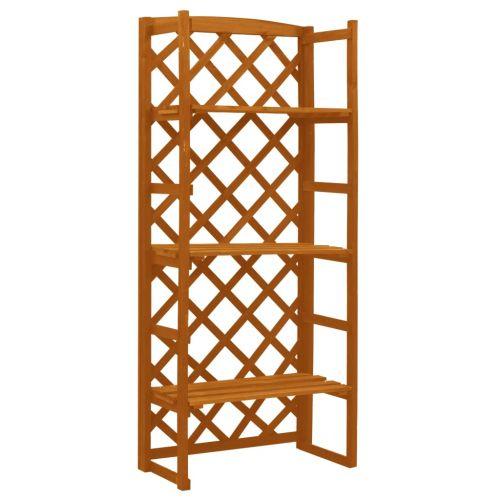 Garden Trellis Planter with Shelves Orange 60x30x140 cm Solid Firwood