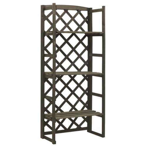 Garden Trellis Planter with Shelves Grey 60x30x140 cm Solid Firwood