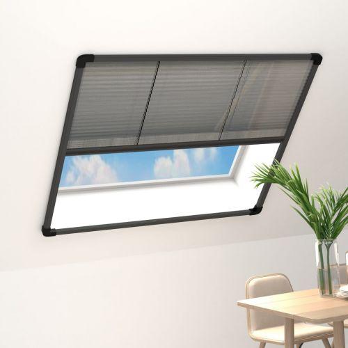 Plisse Insect Screen for Windows Aluminium Anthracite 130x100cm