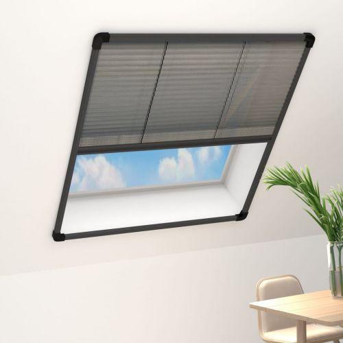 Plisse Insect Screen for Windows Aluminium Anthracite 110x160cm