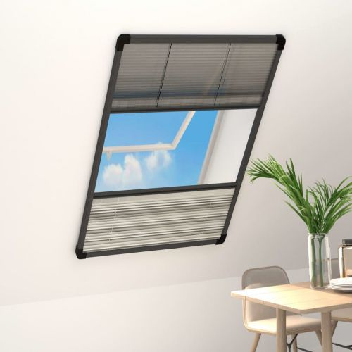 Plisse Insect Screen for Windows Aluminium 110x160cm with Shade