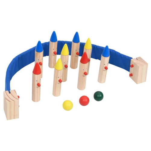 Bowling Game Multicolour Solid Pinewood
