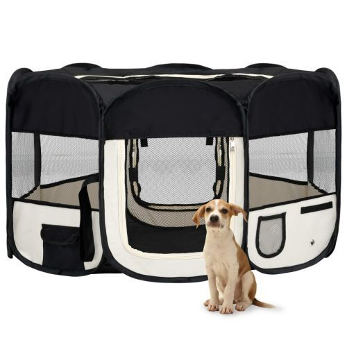 Foldable Dog Playpen with Carrying Bag Black 145x145x61 cm