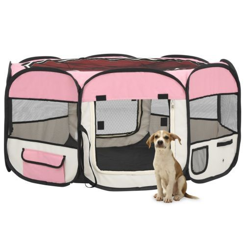 Foldable Dog Playpen with Carrying Bag Pink 145x145x61 cm