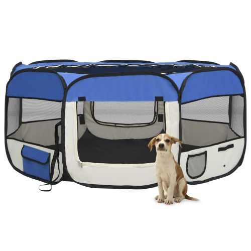 Foldable Dog Playpen with Carrying Bag Blue 145x145x61 cm