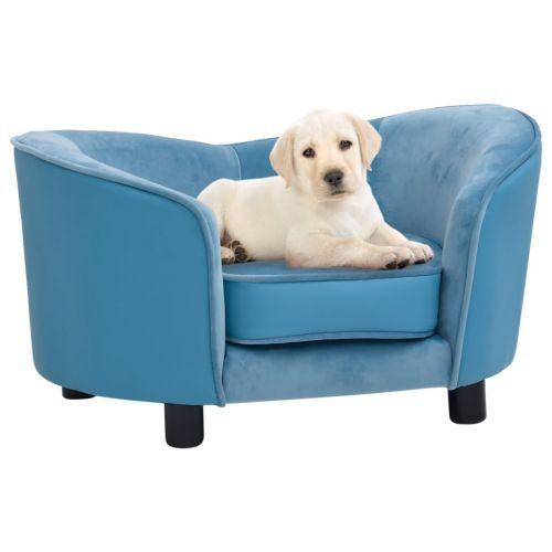 Dog Sofa Turquoise 69x49x40 cm Plush and Faux Leather