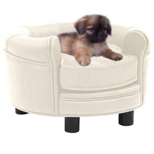 Dog Sofa Cream 48x48x32 cm Plush and Faux Leather