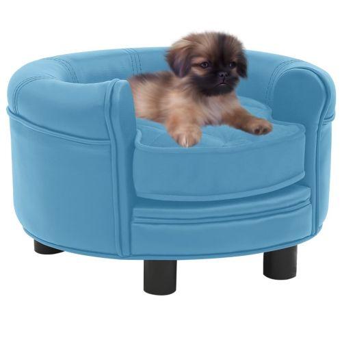 Dog Sofa Turquoise 48x48x32 cm Plush and Faux Leather