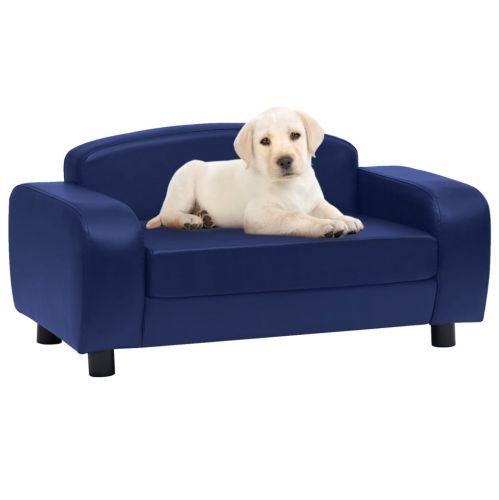Dog Sofa Blue 80x50x40 cm Faux Leather