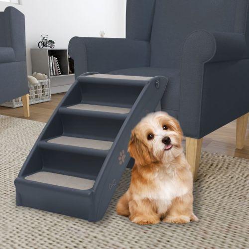 Folding 4-Step Dog Stairs Dark Grey