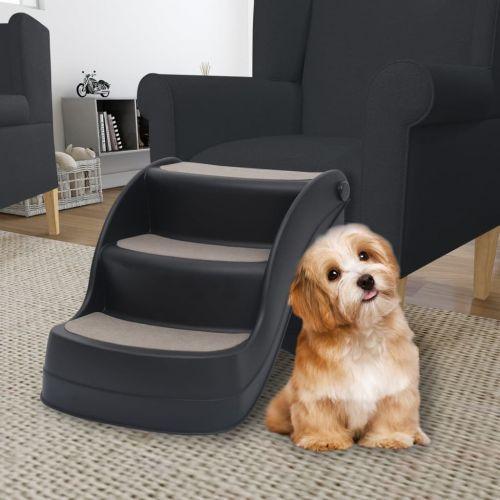 Folding 3-Step Dog Stairs Black
