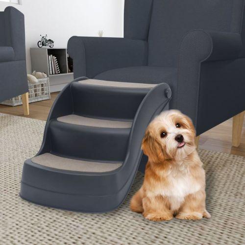 Folding 3-Step Dog Stairs Dark Grey