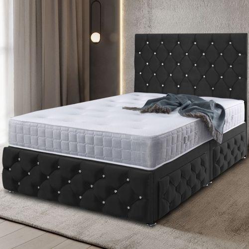 Kenisa Divan Plush Velvet Bed - Black in 5 Sizes