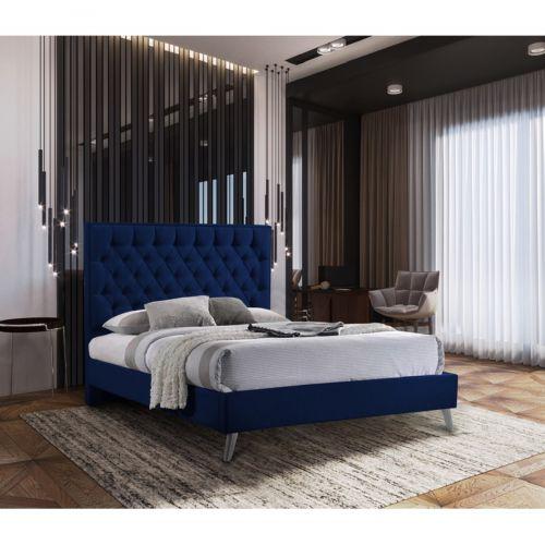 Casana Plush Velvet Bed - Blue in 5 Sizes
