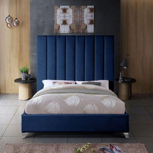 Alexo Plush Velvet Bed - Blue in 5 Sizes