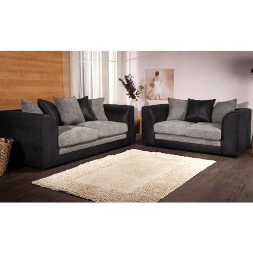Benson 3 Seater and 2 Seater Sofa Set - Black and Grey