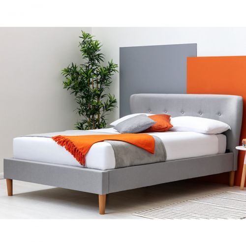Chatwell Modern Winged Headboard Grey Fabric Bed Frame - 2 Sizes