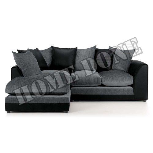 Aruba Black and Grey Chenille Fabric Corner Sofa