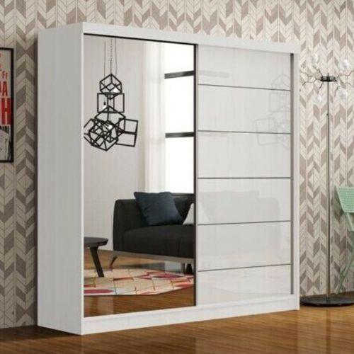 Infinite High Gloss Sliding Door Wardrobe - White, Black