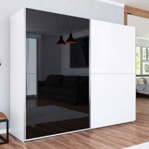 LUXE II Black and White Gloss Sliding Door Wardrobe