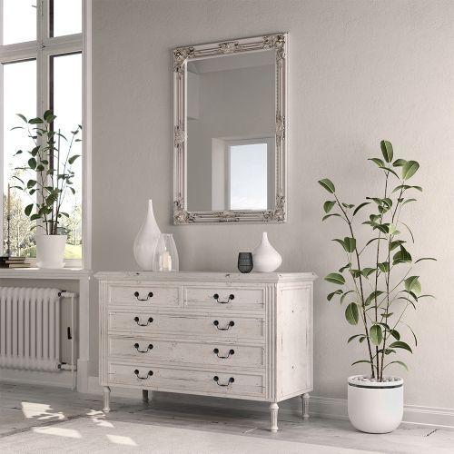 Elect Wooden  Mirror - Silver