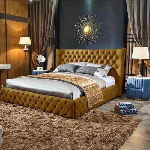 Royale Plush Velvet Bed - Mustard in 5 Sizes