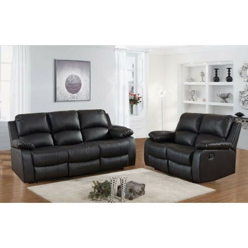 Milano Recliner Leather Sofa Set 3 Seater and 2 Seater - Black