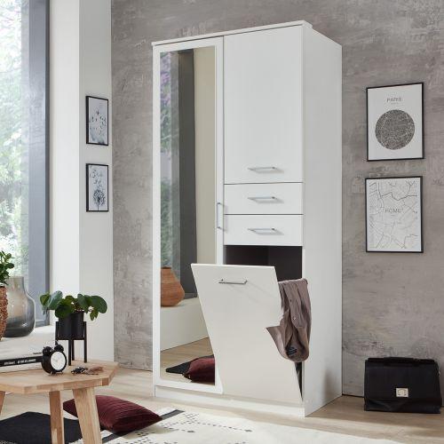 Fresna 2 Door 2 Drawer Mirrored Wardrobe - White