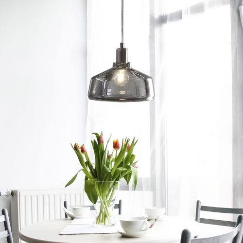 Dravy Smoked Glass Pendant Lamp - Grey