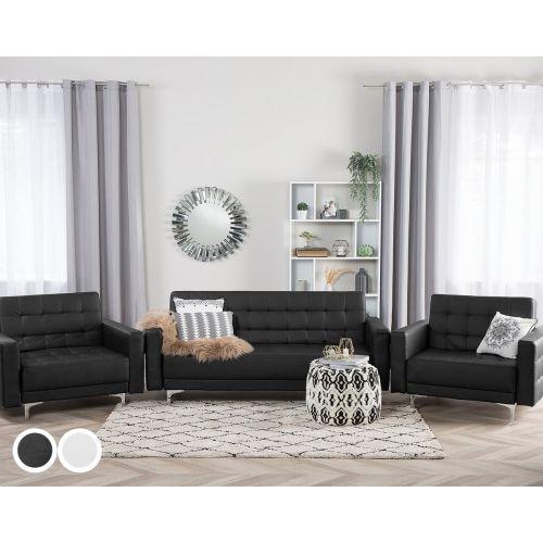 Abbie Faux Leather Sofa Set - Black or White