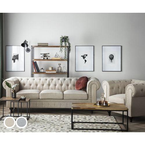 Chesterfield Fabric Big Sofa Set - 2 Colours