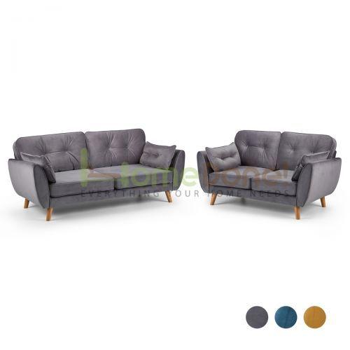 Zin Velvet 3 Seater and 2 Seater Sofa Set - 3 Colours